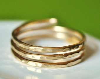 TRINITY  solid 14K gold wire wrap ring custom sized and adjustable (closed band)