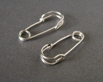 Safety Pin Earrings - 7/8 inch - sterling silver - hoop earrings