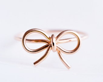 TINY BOW ring - 14k Rose gold filled wire wrap