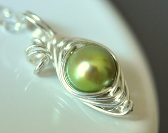 ONE PEA in a pod necklace - mothers necklace with green freshwater pearl, sterling silver - new mom gift - gift for mother - princess pea