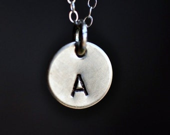 custom initial hand stamped necklace in sterling silver