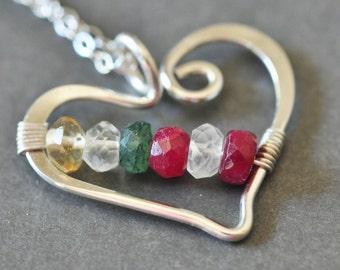 mothers necklace / grandmothers necklace / family birthstone necklace - Open Heart (large) - 6 stones - genuine gemstones - customized
