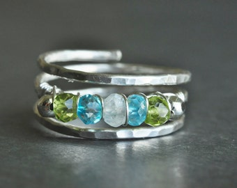 Mother Ring / Grandmother ring / Birthstone ring / Family birthstone ring with genuine gemstones, great gift for mom