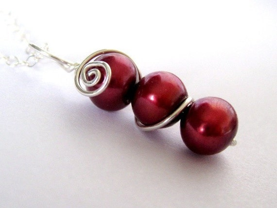 SWEET PEA necklace in Cherry Red -  freshwater pearl sterling silver wire wrap
