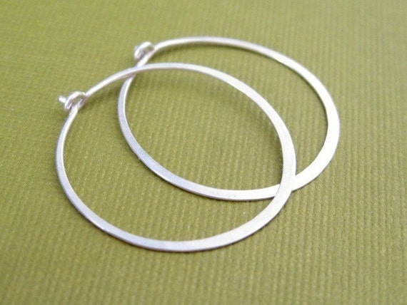 SMALL 3/4 inch sterling silver hoop earrings