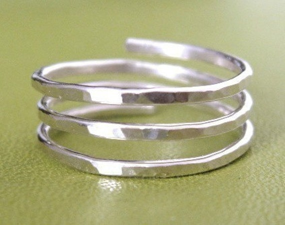 TRINITY (open band)  Adjustable  Wire Wrap Ring custom sized - sterling silver