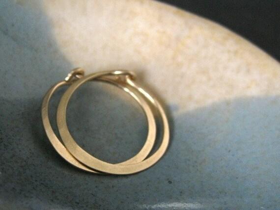 MINI (5/8 inch -16mm) solid 14K gold hoop earrings