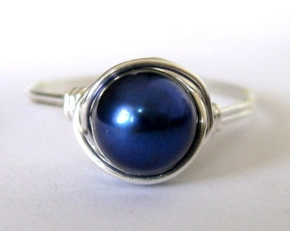 Medium Royal Blue freshwater pearl sterling silver wire wrapped ring