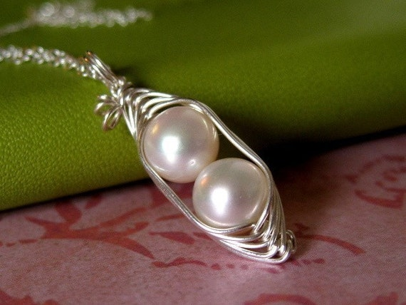 Pea Pod necklace - Two peas in a pod jewelry - peapod necklace - WHITE freshwater pearl - sterling silver - a Mu-Yin Jewelry original