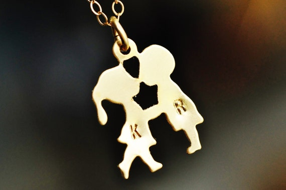FIRST KISS boy and girl kissing necklace with two hand stamped monograms / initials - 14k gold filled