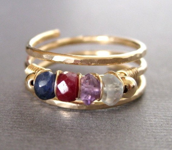 FAMILY BIRTHSTONE custom 14K gold filled wire wrap ring -- up to 5 birthstones plus 2 gold filled beads