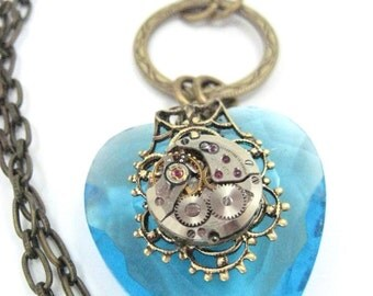 Timely Heart Aqua, Steampunk Necklace, Steampunk Heart, Steampunk Heart Aqua, Steampunk Jewelry, Victorian, Heart, One of a Kind