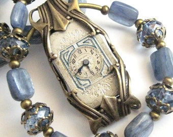 Time in Kyanite, Steampunk Kyanite Necklace, Gemstone Steampunk Jewelry, Victorian Steampunk Gemstone , One of A Kind