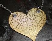 I Heart Sea Glass - Brass Heart Necklace