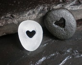Two of Hearts - Genuine Sea Glass and Beach Stone Pocket Pebbles