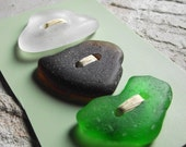 Cute As A Button - REAL Sea Glass Buttons  for Sewing Notions or Jewelry Designs