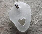 I Heart Malibu - Genuine Sea Glass Jewelry - Hand Carved Heart Necklace