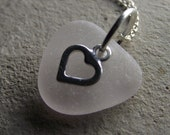 Pink - Sea Glass Jewelry - Heart Necklace
