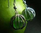 SALE - Beach Balls - Genuine Sea Glass Cage Earrings