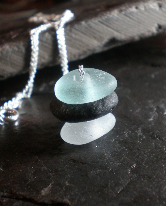 Three Sisters - Genuine Sea Glass and Beach Stone Jewelry Siblings Necklace