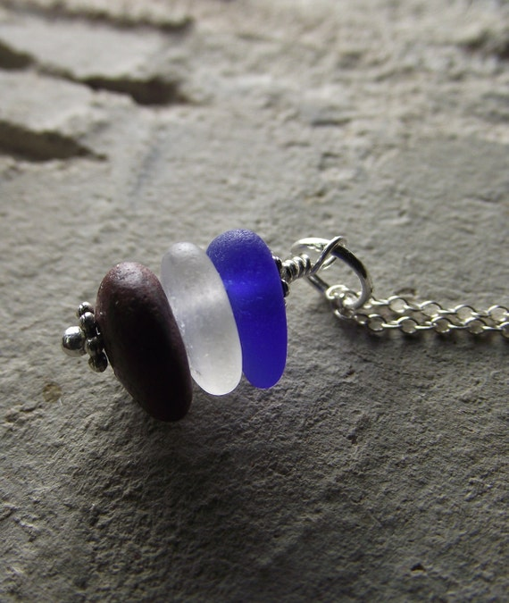Stars and Stripes - Sea Glass and Beach Stone Jewelry - Stacked Cairn Necklace