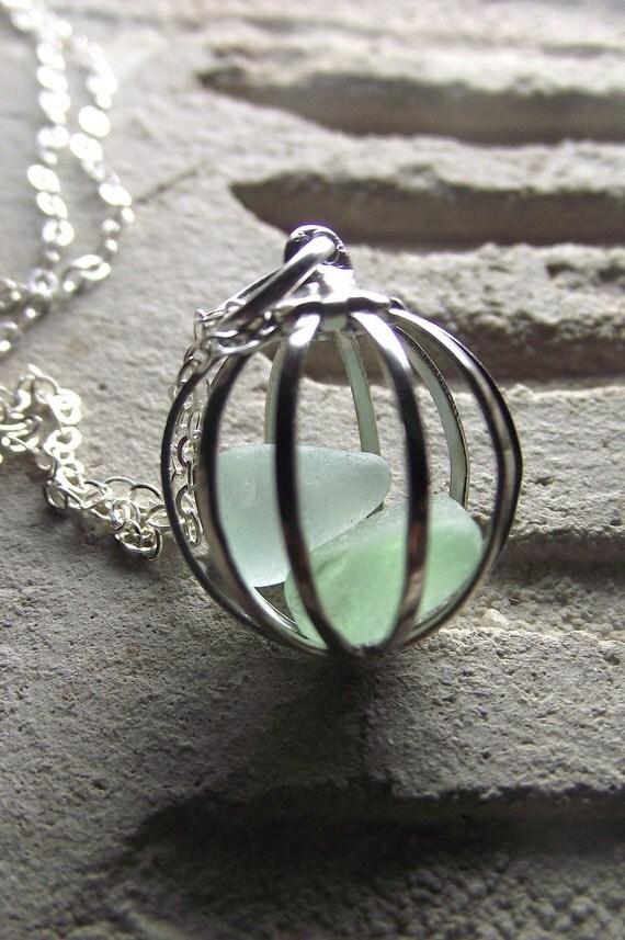 Sea Glass Necklace - Love Birds ---- Cage Locket Jewelry