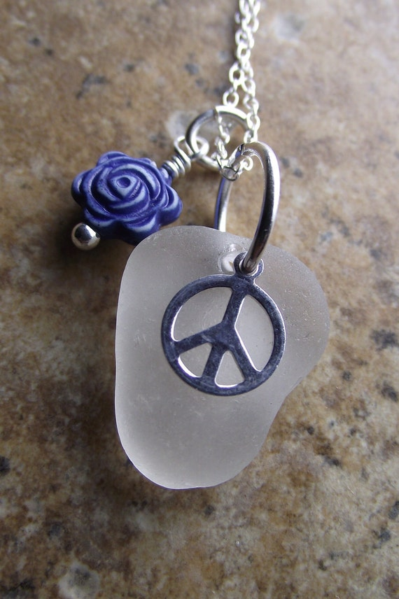 Sea Glass Jewelry - Increase The PEACE - Genuine Sea Glass Cluster Necklace by SeaFindDesigns on Etsy