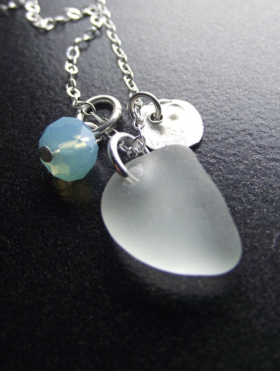 WASTE NOT - Sea Glass Jewelry - Cluster Necklace by Sea Find Designs