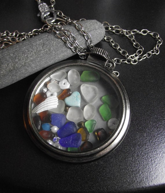SALE - Multi Color Sea Glass POCKET WATCH Jewelry - Time After Time Necklace
