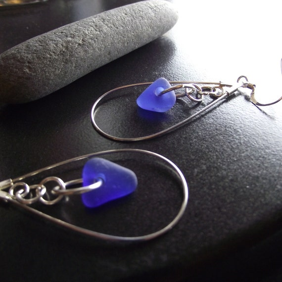 Sea Glass Jewelry - Cobalt Blue Seaglass Earring - LOOP DE LOOP