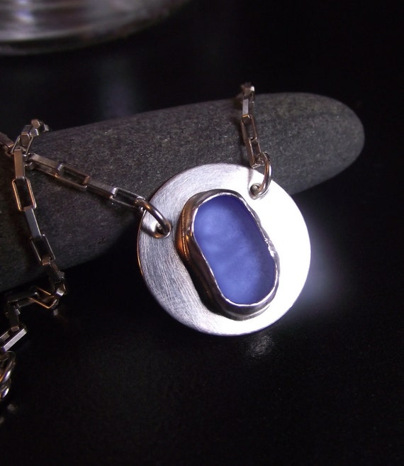 Sea Glass Jewelry - Beach Glass Metalwork Necklace - BLUE SKIES AHEAD