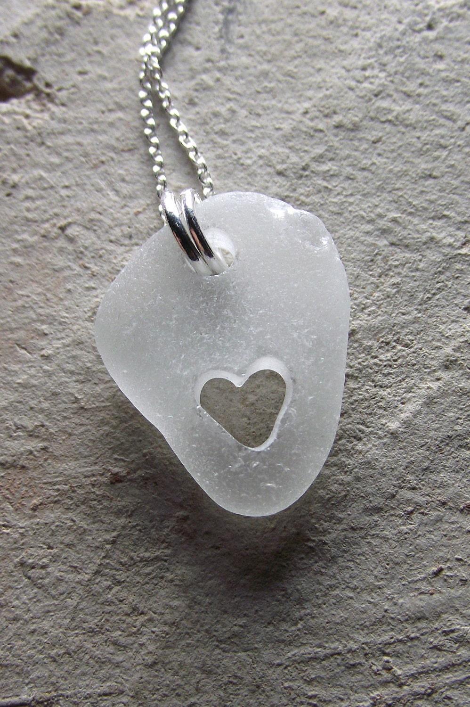 i heart malibu genuine sea glass jewelry hand carved heart