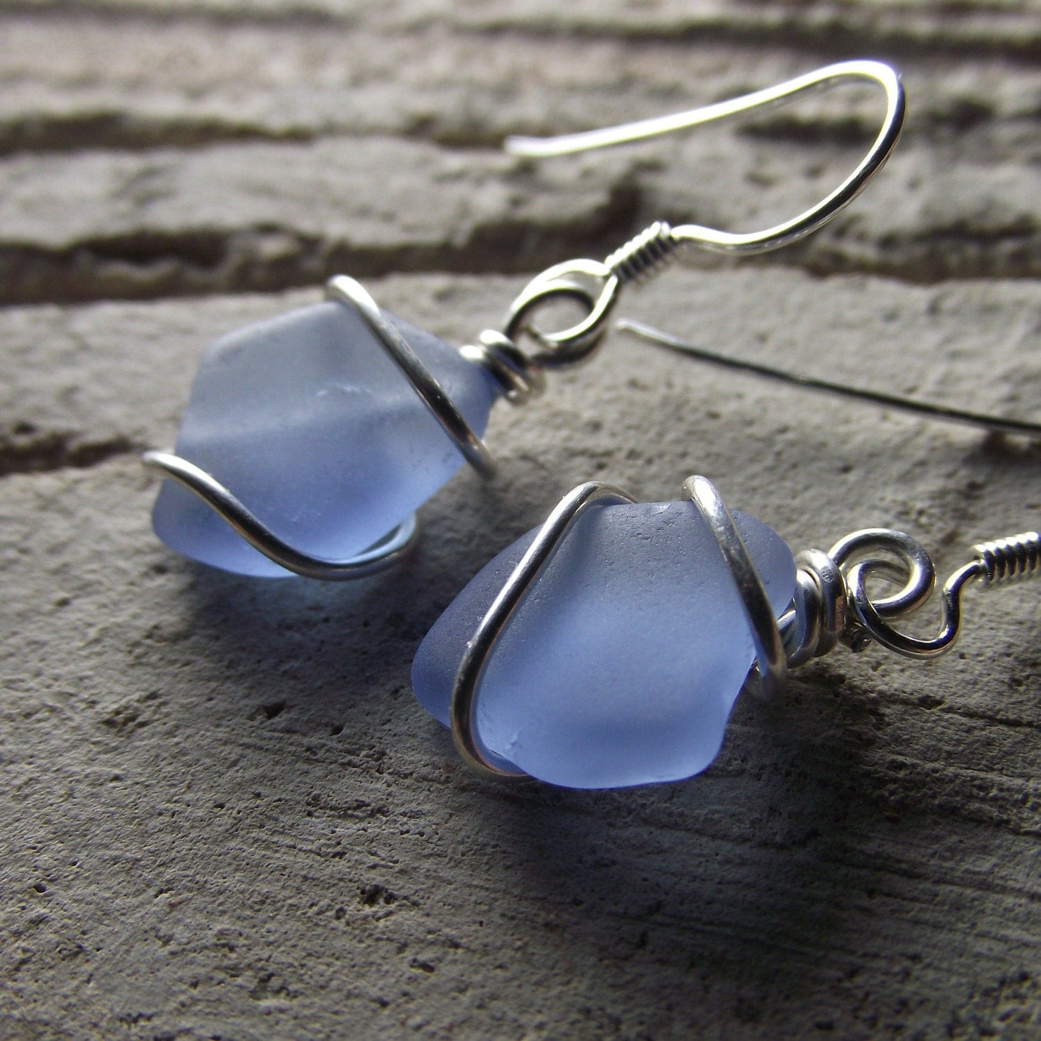 vintage blues genuine sea glass jewelry wire by seafinddesigns