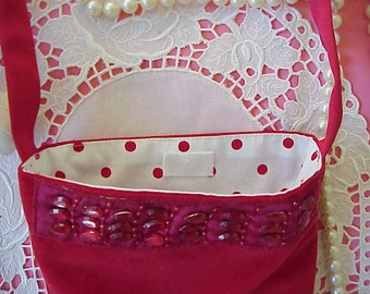 Elegant Couture Red Velvet MINI Party PURSE Jewels