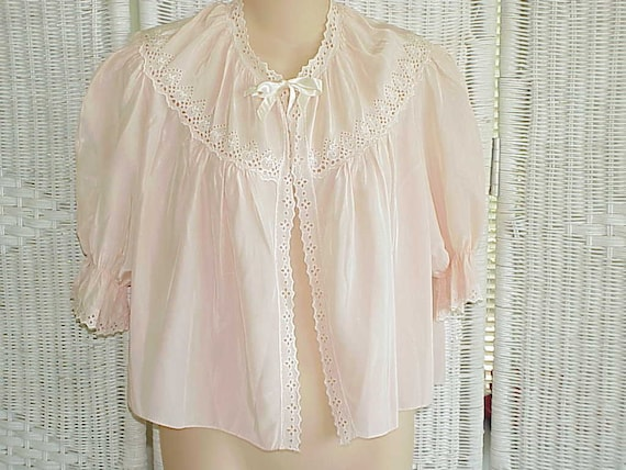 Vintage 1950 Countess Layne Bed Jacket Pale Pink