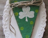 Glittered Shamrocks on Green painted Burlap Banner...St. Patricks Day
