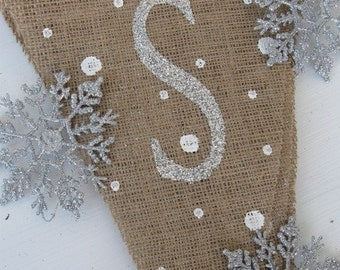 SNOWFLAKES.....Glittered Burlap Banner Pennant Bunting Christmas