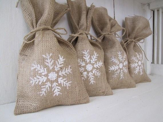 Snowflake Burlap Gift Bags
