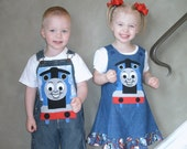 Thomas The Train Applique A-Line Jumper Dress Custom Size 6mo to 5T SewSoNancy Boutique
