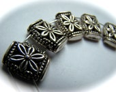 Silver Tone 2 Strand Separator with Flower Detail