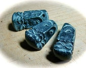 Tibetan carved granite face focal bead ONE Unique Bead