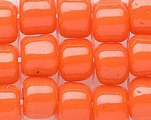 6/0 Seed Beads Japanese Matsuno size 6 Dyna Mites Opaque Orange 20 grams (8348) bright orange uniform beads for weaving stringing and more