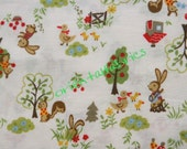 Happy Bunny and Squirrel Fabric