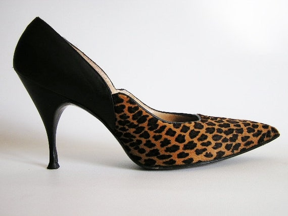 Vintage 50s-early 60s Leopard n Black Leather High Heeled Shoes