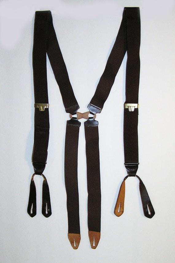 1930s 1940s Suspenders Braces Brown H Back V Adjusters Leather