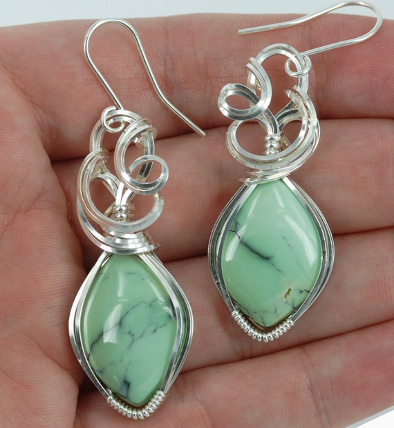 Varascite stone sterling silver wire wrapped sculpted earrings