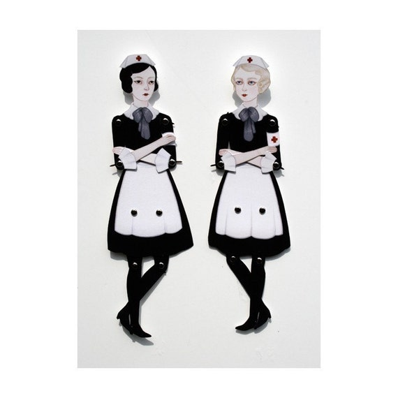 Nurse, I Need You - articulated paper doll set with 16 silver brads