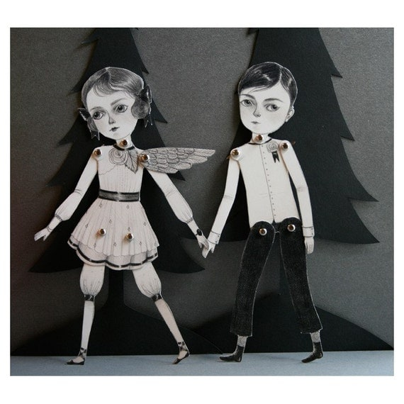 Only 1 left! - November and December articulated paper doll set with 10 silver brads