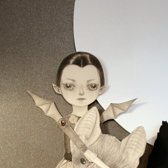 Last 1 remaining - Singing You to Sleep articulated Vampire paper doll set with 4 silver brads