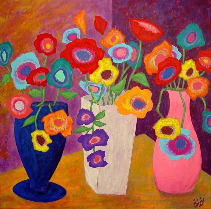 Modern folk art flowers in vases original painting j blake for Modern flower paintings